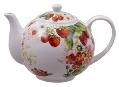 Our Red Strawberry discount teapot is just yummy! 2 Inch Diameter Opening x Inch Height; Overall Length Spout to Handle: 8 Inches Has matching Discount Teacups! Strawberry Patch, Strawberry Tea, Strawberry Fields, Strawberry Shortcake, Strawberry Kitchen, Strawberry Decorations, Tea Party Favors, Royal Tea, China Tea Sets