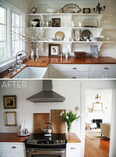 Before & After: A Farmhouse Kitchen Makeover. Love the wood countertop and open shelving!