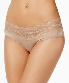 b.tempt'd by Wacoal b.adorable Lace-Waistband Hipster 938182 - Tan/Beige XL