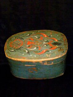 Mid 19th century with a dome top.Nicely painted.Original blue/green color. Some age wear and paint loss.L.14in.,W10in.,H.8in