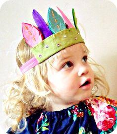 SO CUTE! from giddyupand grow Feather Headdress- Felt Flower Headband, Leaf. $25.00 USD, via Etsy.
