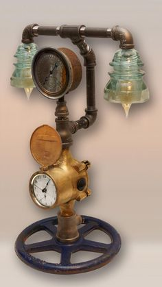 Steampunk Water Meter and Glass Insulator Lamp with Clock, USB & AC Outlets, Dimmer, Boston Pres Insulator Lights, Glass Insulators, Steampunk Design, Steampunk Lamp, Steampunk Furniture, Pipe Lighting, Industrial Lighting, Iron Pipe, Pipe Lamp