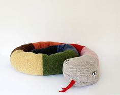 Snake soft knitted toy  multicolored Learn your by ColetteBream