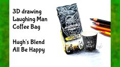 3D drawing - Laughing man coffee bag - Hugh's blend