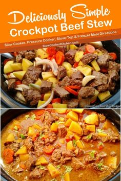 Quick and tasty, cheap and easy beef stew slow cooker! With slow cooker, stove-top, pressure cooker, & freezer friendly directions! I hope this recipe helps you in your meal prep search and budget management. Enjoy!   SlowCookerKitchen.com Slow Cooker Beef, Slow Cooker Recipes, Crockpot Recipes, Soup Recipes, Easy Beef Stew, Crock Pot Soup, Freezer Meals, Stove, Meal Prep