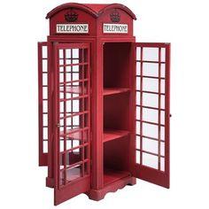 Vintage Glass Display Cabinet Large London Telephone Box Red Retro Furniture NEW Retro Furniture, Sofa Furniture, Furniture Making, Furniture Design, Furniture Movers, Shabby Vintage, Shabby Chic, London Telephone Booth, Kare Design