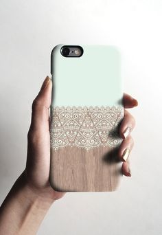 Mint wood lace iPhone case iPhone 6 case wood by Darkoolart Iphone 5c Cases, Cute Phone Cases, Iphone 4s, Apple Iphone, Iphone 7 Cases Unique, Coque Smartphone, Coque Iphone 6, Protector Iphone 6, 6 Case