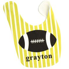 Lime and White Striped Baby Bib with Brown Football Design