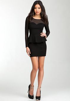 bebe | Sweetheart Peplum Mesh Dress - I WANT!