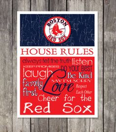 Boston Red Sox House Rules Art Print by RedBarnImprints on Etsy, $15.00