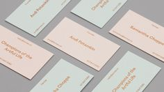Brand identity and pastel coloured paper and coper block foil business cards for Brooklyn based art and design advisory business LeMise by DIA