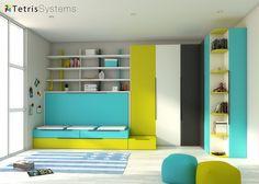 #Habitación #infantil con #abatible #nido con #armario 515-0207