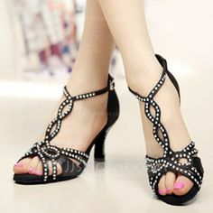 Women's Satin Heels Pumps Latin With Ankle Strap Dance Shoes (053108807) - Dance Shoes - JJsHouse