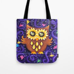 Tote Bag Sunflower Eyed Owl with Dragonflies on Purple by nJoyArt #sunflower #owl #art #tote #bag #dragonflies