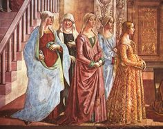 Ghirlandaio - detail of the birth of Mary. Adore the gown of the young woman to the right.