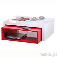 ZOLA stolik kawowy z kolorową szufladą - biały połysk/czerwony połysk, Inter Link Sas - Meble