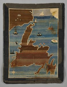 "Grenfell Hooked Rug Depicting the Island of Newfoundland, attributed to Grenfell Labrador Industries, Newfoundland and Labrador, early 20th century, depicting the island of Newfoundland and partial coastline of Labrador, with various motifs including a spouting whale, directionals, vessels, the North Wind blowing, and icebergs, worked in shades of blue, brown, black, and white, ""Wilfred Grenfell"" inscribed l.c., (stains), 31 1/2 x 41 1/2 in."