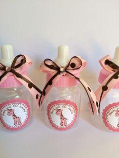 Pink and brown Giraffe baby bottles for baby shower- girl's baby shower- giraffe…