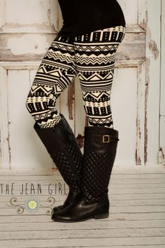 Black and White Aztec Leggings! These will go with everything! Shop: http://thejeangirlshop.com