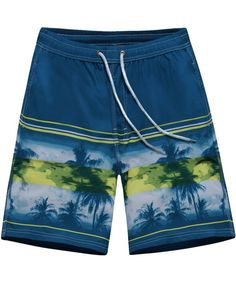 Two Pink Flamingos in The Water at Sunset Mens Beach Board Shorts Casual Quick Dry Swim Trunks