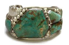 Huge and Heavy Native American Navajo Turquoise and Sterling Cuff Bracelet Signed Museum Quality