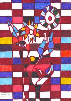 Castro 12.01, Fleurs et feuilles, 2012. Encre sur papier, 29,7 x 21 cm.   www.sergiodecastro.org
