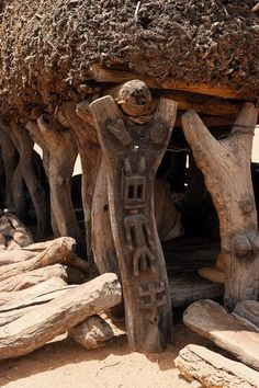 Africa | Detail of the carved wooden pillars of a Taguna.  Dogon Country, Mali | Image ©Michel Renaudeau