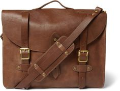 $300, Brown Leather Messenger Bag: J.Crew Montague Distressed Leather Satchel. Sold by MR PORTER. Click for more info: https://lookastic.com/men/shop_items/142749/redirect