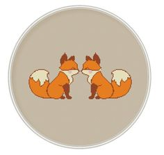 Cute foxes Cross stitch pattern Counted cross от MagicCrossStitch
