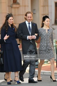 Tatiana Casiraghi, Andrea Casiraghi and Princess Alexandra of Hanover attend Monaco National Day Celebrations on November 2018 in Monte-Carlo, Monaco. (Photo by Stephane Cardinale - Corbis/Corbis via Getty Images) Andrea Casiraghi, Grace Kelly, Royal Fashion, Fashion Looks, Montecarlo Monaco, Estilo Real, Monaco Royal Family, Princess Caroline Of Monaco, Royal Brides
