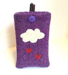 Harris tweed phone cover. Cloud raining hearts https://www.etsy.com/listing/93265225/purple-harris-tweed-cloud-with-raining