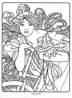 art deco art nouveau alphonse mucha by suellen colouring coloring