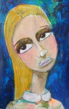shy girl, Portrait of a woman, Acrylic painting, Mixed Media Art, Benedicte 2015