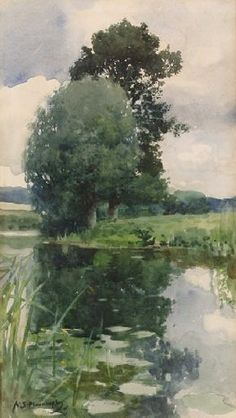 green - landscape - Green Pastures and Still Waters - painting - Sir Alfred James Munnings Watercolor Landscape, Watercolour Painting, Landscape Art, Painting & Drawing, Landscape Paintings, Green Landscape, Watercolours, Alfred Munnings, Guache