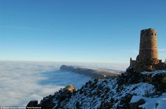 Kingdom in the clouds: According to park rangers, the fog was caused by a weather phenomenon called a 'temperature inversion'