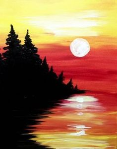 "July 2016 Featured Painting: ""Pine Lake at Sunset"" by Springfield, MA, artist Shannon Chiba. Paint nights in Vancouver/PDX Easy Canvas Painting, Easy Paintings, Diy Painting, Watercolor Paintings, Canvas Art, Sunset Painting Easy, Canvas Paintings, Sunset Paintings, Lake Painting"