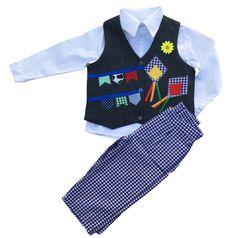 8d0cebb85 Look Xadrez em 3 itens  Colete Infantil de Festa Junina + Camisa branca de  manga