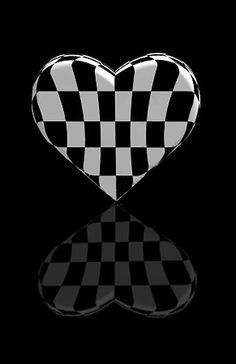 1lifeinspired: Black and White ~ Checkered Heart and Reflection ♥♥