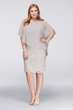 Plus Size Glitter Lace Sheath Mother of Bride/Groom Dress with Chiffon Capelet - Silver, 22W