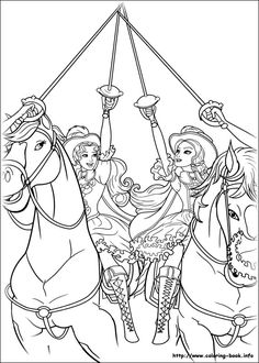 Barbie and the three Musketeers coloring pages on Coloring-Book.info | 330x236