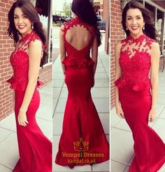 vampal.co.uk Offers High Quality Red Lace Applique High Neck Peplum Open Back Long Mermaid Formal Dress                                    ,Priced At Only USD $177.00 (Free Shipping)