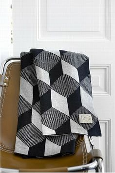 Knit Black and White Cube Blanket
