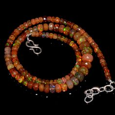"65CRTS 4to8.5MM 18"" ETHIOPIAN OPAL FACETED RONDELLE BEADS NECKLACE OBI1735 #OPALBEADSINDIA"