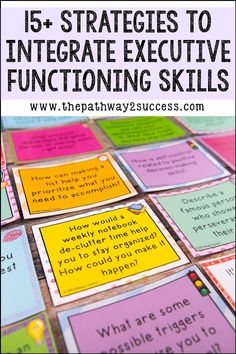 Over 15 simple strategies teachers can use to teach and integrate executive functioning in the classroom with students! From brain breaks to writing homework in the same spot each day, there are many different simple strategies every teacher can use! Study Skills, Life Skills, Cloze Reading, Reading Comprehension, Adhd Strategies, Behavior Interventions, Inquiry Based Learning, Executive Functioning, Anxiety In Children