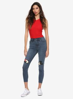 Disney Mickey Mouse & Minnie Mouse Kissing Patch High-Waisted Jeans, BLACK