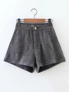 Button Fly, Zipper Fly. Shorts Decorated with Button. Loose fit. Mid Waist. Plain design. Trend of Spring-2018, Fall-2018. Designed in Grey.