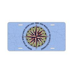 compass-rose3-OV Aluminum License Plate on CafePress.com