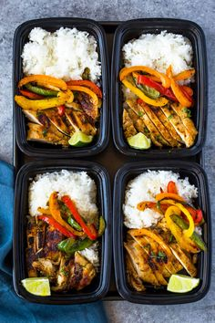 Meal-prep chicken marinated in a spicy garlic, chili, cilantro, lime marinade, served with rice and colorful bell peppers. This tasty flavor-packed meal is quick and easy makes a great lunch all we… healthy food Chili Lime Chicken and Rice Meal Prep Bowls Chicken Meal Prep, Chicken Chili, Garlic Chicken, Chicken Bell Pepper Recipes, Marinade Chicken, Chicken Marinades, Chicken Fajitas, Garlic Bread, Meal Prep Bowls