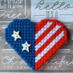 """Stars and Stripes Forever. . .and Hearts! :) Plastic Canvas: Stars and Hearts Magnets (set of 3) -- """"Ready, Set, Sew!"""" by Evie"""