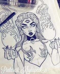 I love here artwork, she is an in. - - Gwen D'arcy. I love here artwork, she is an in… – - Tattoo Drawings, Cool Drawings, Body Art Tattoos, Drawing Sketches, Gothic Drawings, Tattoo Sketches, Tattoo Art, Art And Illustration, Art Du Croquis